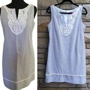 Eliza J Shift Dress Seersucker Stripe Crochet 12P